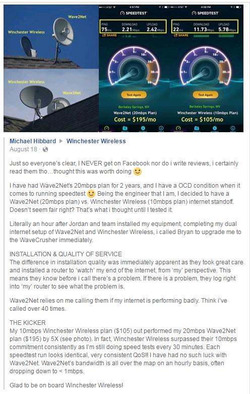 Winchester Wireless - Customer Testimonials - Winchester, VA